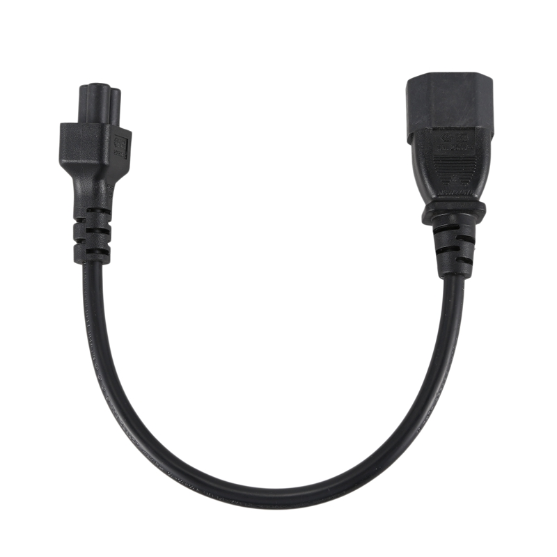 IEC 320 C14 Male to C5 female Adapter Cable, 25CM, IEC 3 Pin male to Clover leaf Black