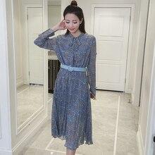 2017 весна женщины dress печати нежный элегантный осанки ленты градиент плиссированные платья синий 8003