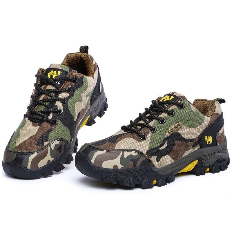 Zapatillas de trekking amantes de los zapatos de camuflaje lienzo camuflaje de los hombres zapatos al aire libre mujeres hombres zapatos de senderismo antideslizantes zapatos deportivos