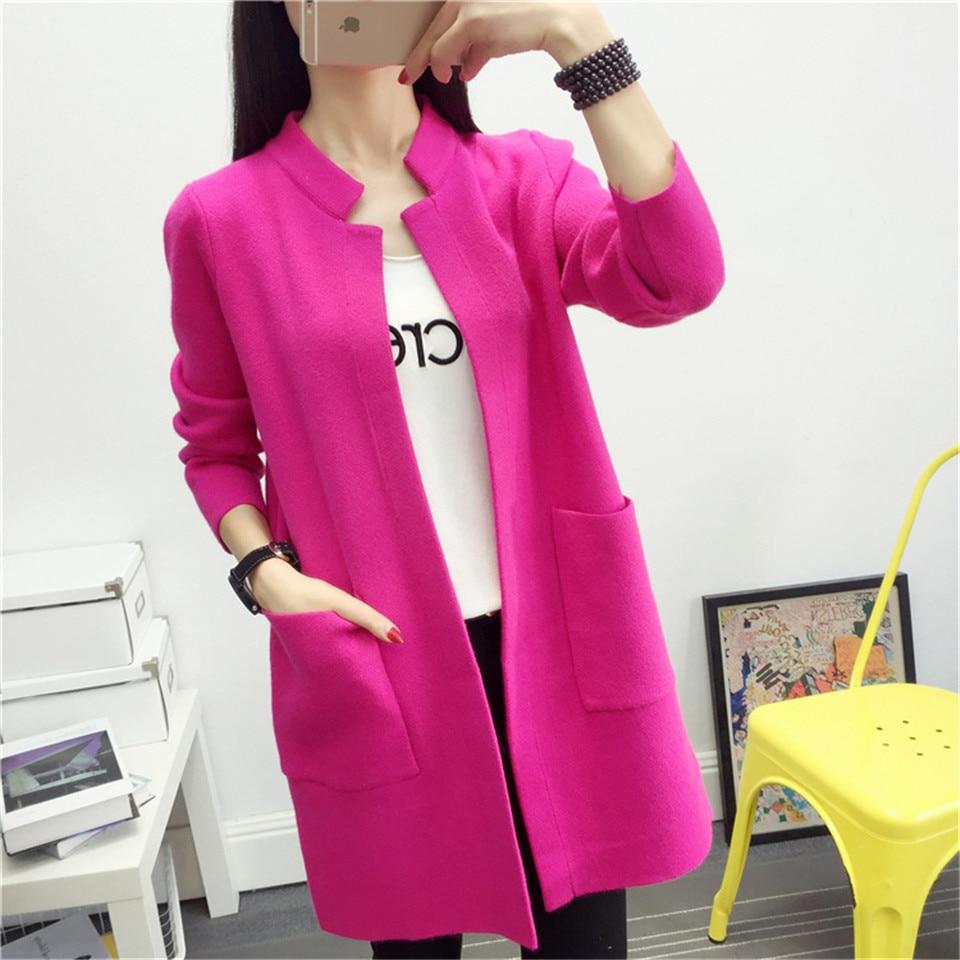 Women Sweater 2018 Cardigan Autumn Medium Long Loose Knitted Stand Collar Outerwear Causal Pockets Long Sleeve Cardigans OK340