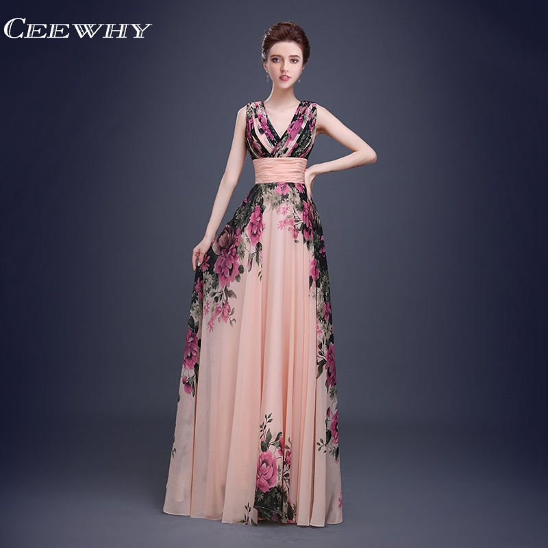 CEEWHY V-Neck Sleeveless Floral Printed Prom Dresses A-Line Chiffon Formal Evening Dresses Long Floor-Length Vestido de Festa