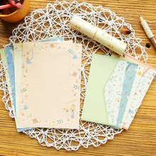 Креативный бумажный конверт из Южной Кореи, костюм, маленькие чистые свежие Романтические цветы, милые буквы, 4 письма, бумаги+ 2 конверта