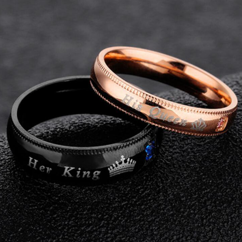 Engagement Promise Ring Bands Her King And His Queen Stainless Steel Wedding Rings For Women Men Anel Masculino