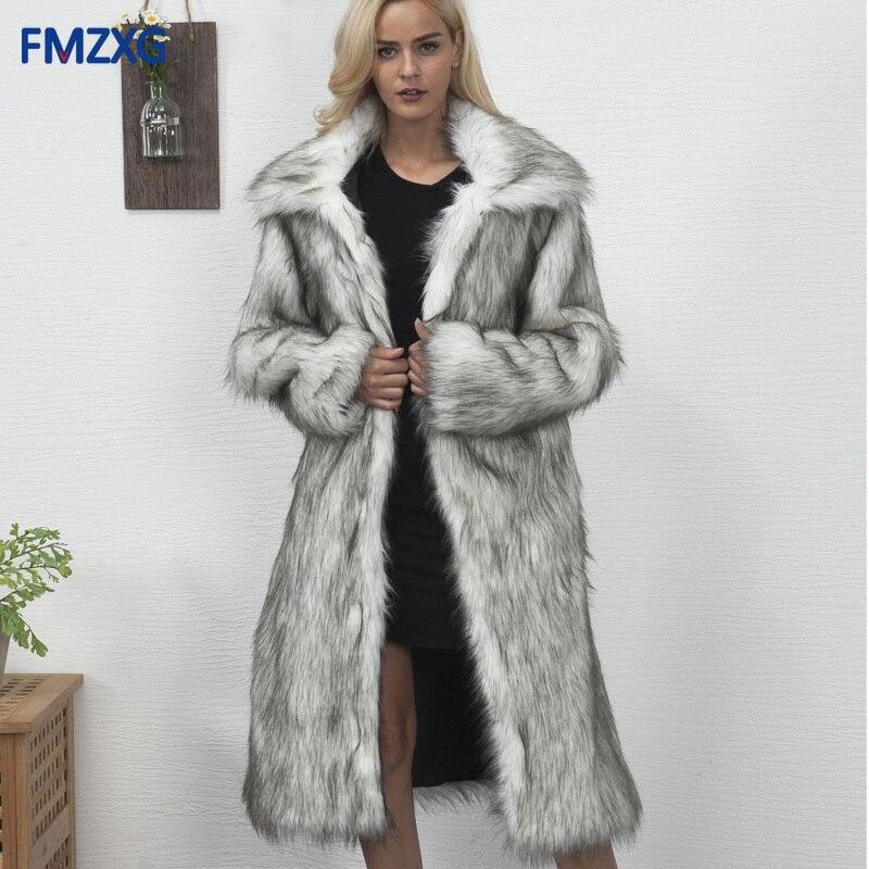 Femmes Luxe 2018 2 Faux Longues Renard Lâche 1 Survêtement Épais Veste D'hiver Pardessus Manteau Rallongent À Manches Fourrure Mode 4 3 De Chaud wXRdYAxqX