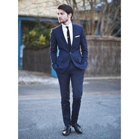 Custom Made One Button Groom Tuxedos Notched Lapel Men's Suit Green Groomsman Bridegroom Wedding Prom Suit (Jacket+Pants)