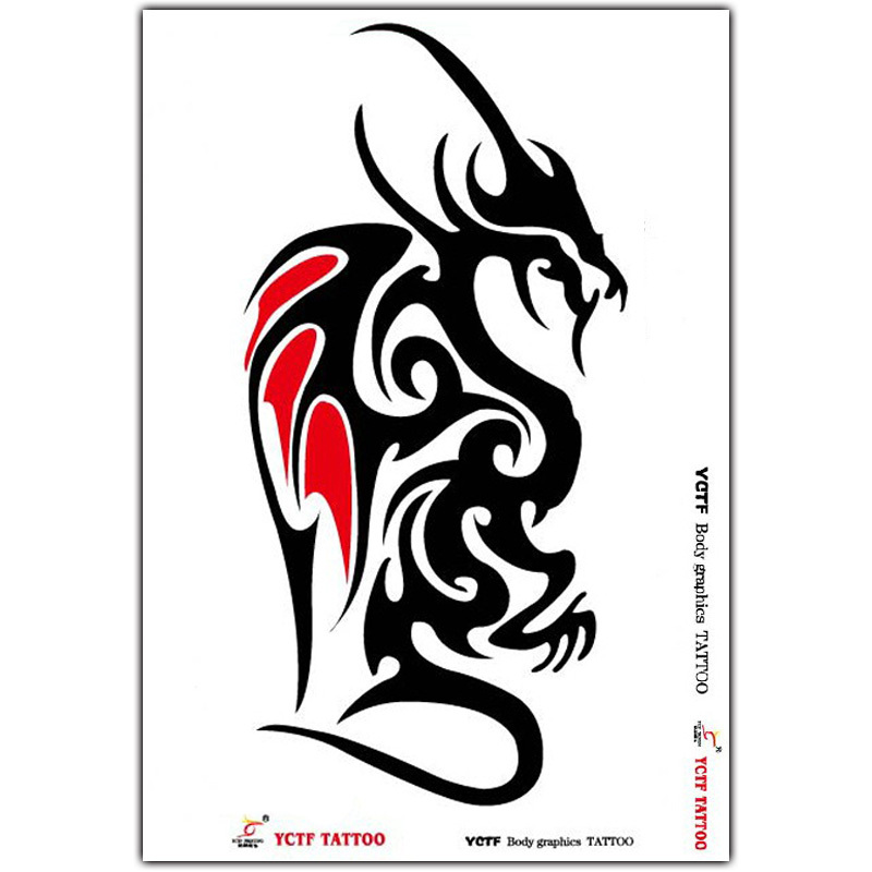 Temporary tattoo dragon totem tattoo sticker fake arm animal tattoo waterproof sexy body art tattoo design free shipping in temporary tattoos from beauty
