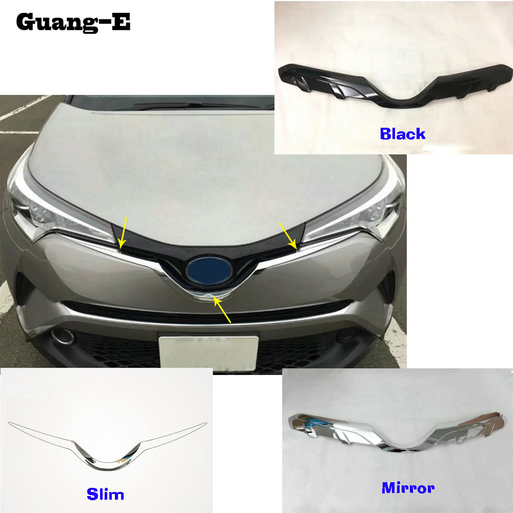 Car style cover detector ABS Chrome/Carbon fiber trim Front bottom Grid Grill Grille hoods 1pcs For TOYOTA C-HR CHR 2017 2018 car cover bumper engine abs chrome trim front grid grill grille frame edge moulding 1pcs for toyota c hr chr 2017 2018 2019
