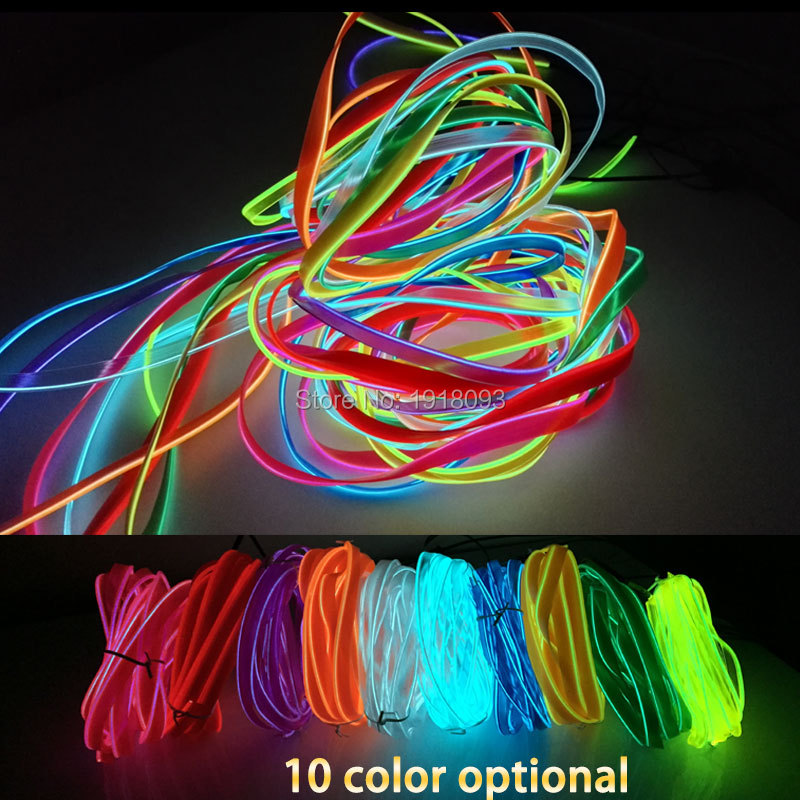 LED sloksne EL stiepļu cauruļu virve Elastīga neona gaisma 2,3 mm svārki 1-25 metri 10Color Select Car Inside Decoration