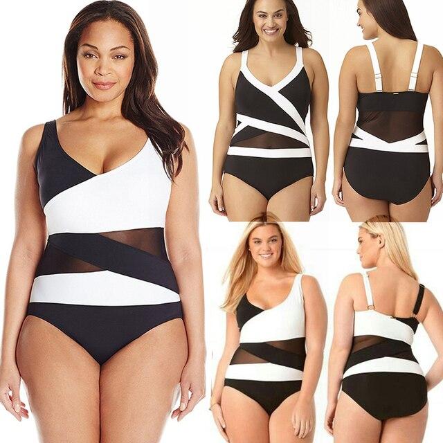 4xl Plus Size Sexy Fat Lady Swimsuits One Piece Push Up Booty Black White Swimwear Patchwork