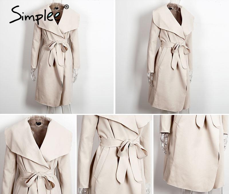 Simplee Black ruffle warm winter coat Women turndown long coat collar overcoat female Casual autumn 16 pink outerwear 19