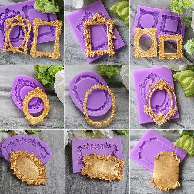 Moldes bonitos do bolo do silicone da forma do quadro de aouke, bakeware diy do fondant decoram