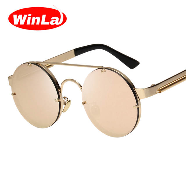 f9220706122 Online Shop Winla Vintage Steampunk Sunglasses Men Goggles Round Sunglasses  Women Brand Design Metal Frame Twin-Beams Glasses Mirror Shades