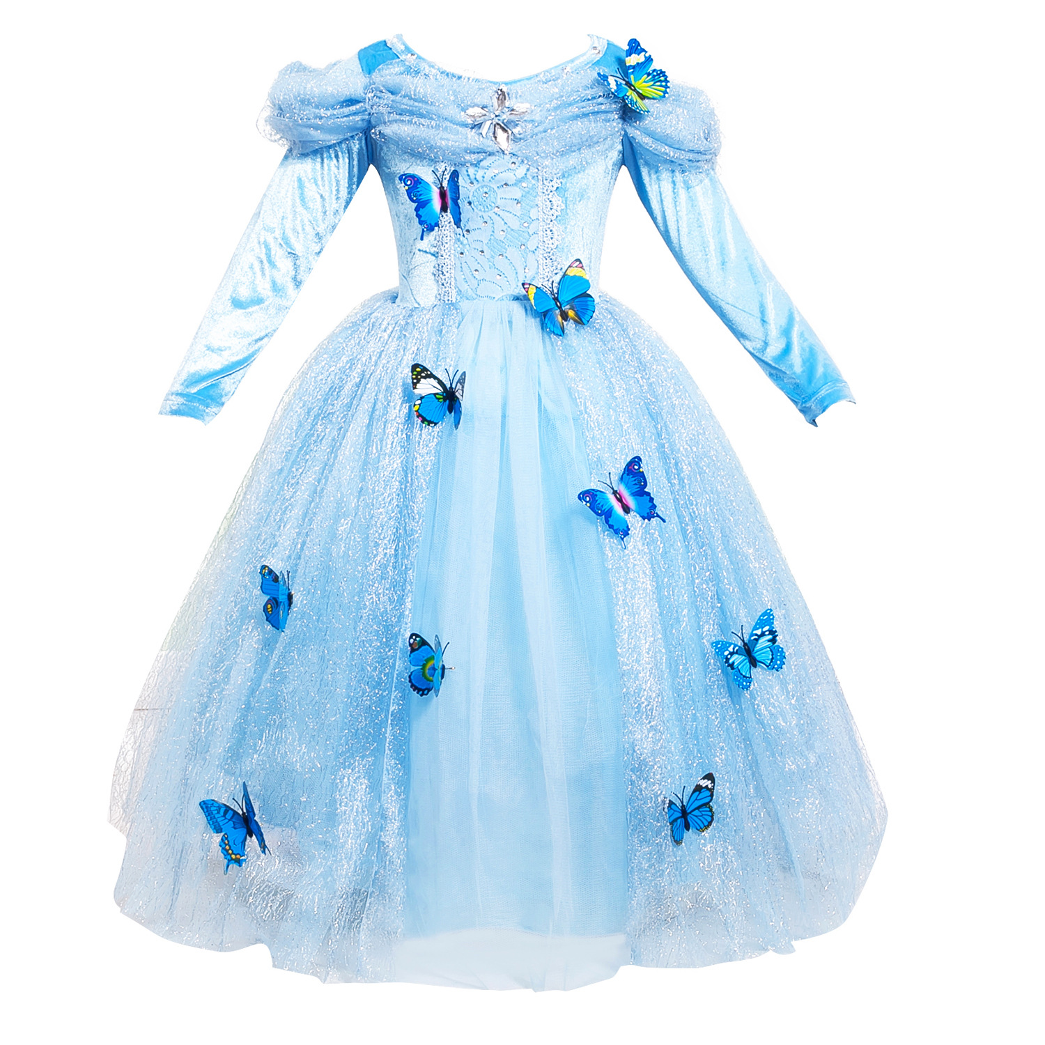 33cd509add2b Girls Princess Birthday Dresses for Toddlers 3-12 Years Old Light Blue Long  Sleeved Girls Fancy Dress Carnaval Costumes for Kids