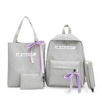 4 Sets/Pcs женщина нейлоновый рюкзак женские рюшки школьные рюкзаки школьная сумка для подростков девочек Студент Книга сумка женская сумка