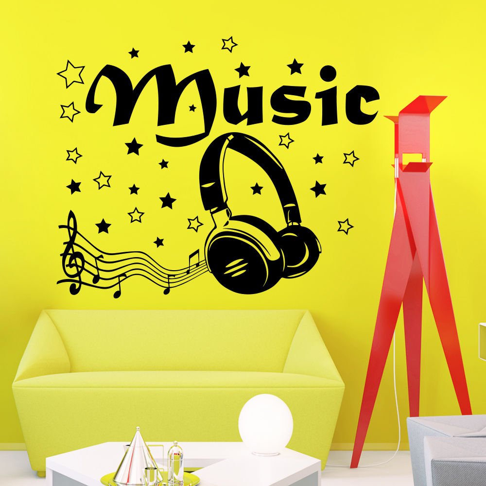 Wall decals quotes music headphones decal living room vinyl sticker decor a818 for Olafur arnalds living room songs vinyl