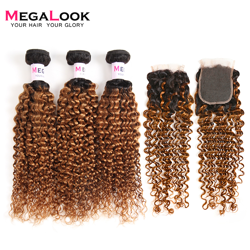 Megalook 1B 30 Ombre Human Hair with Closure 3pcs Remy Peruvian Kinky Curly Bundles with Closure
