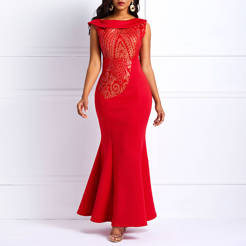 Sequins Party Bodycon Mermaid Long Dress Women Elegant Slim Ruffle Office Ladies Prom Evening Formal Solid Red Sexy Maxi Dresses