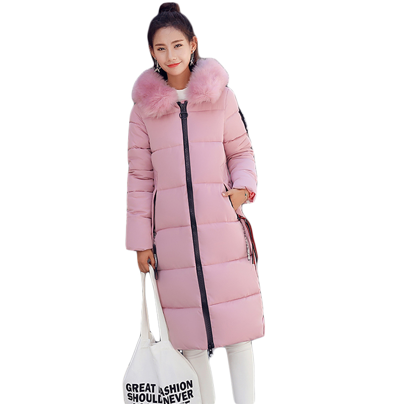 Winter Jacket Women 2017 Female Large Fur Hooded Parka Coats Women Cotton-Padded Thicken Warm Long Jacket Plus size M-5XL CM1816 winter jacket women large fur collar wadded padded coats jacket female hooded down cotton coat plus size 5xl parka mujer c2623