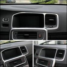 Consola de navegación especial del coche coche Que Labra cubierta de marco decorativo tira de ajuste de acero inoxidable 3D pegatina para Volvo S60 V60
