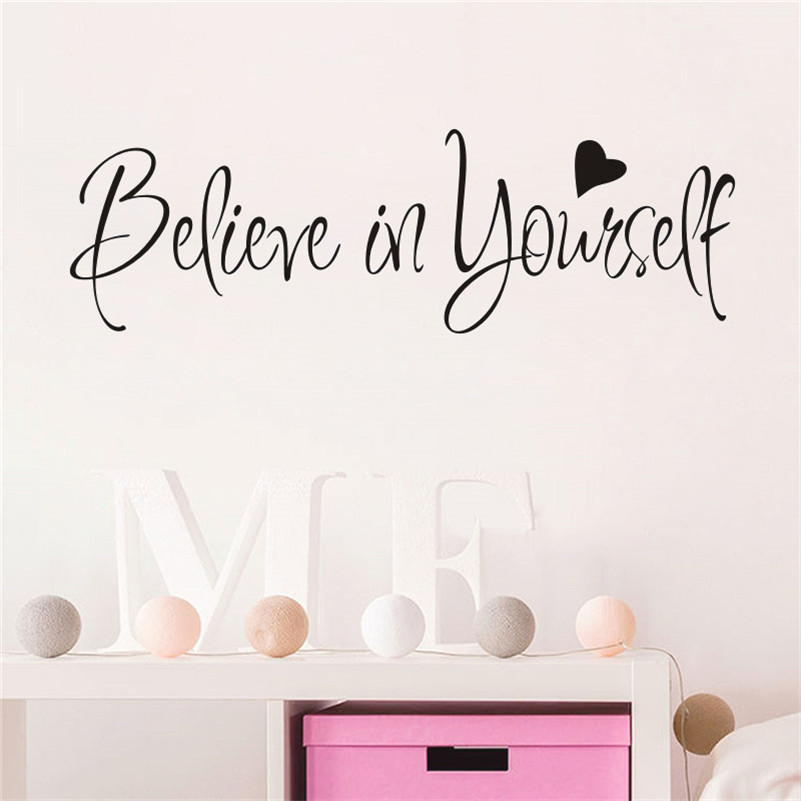 Home decor inspiring quote wall decal believe in yourself for Home decor quotes on wall