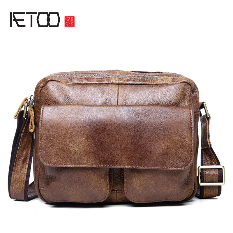 AETOO Summer new fashion casual leather men bag shoulder bag men first layer of leather Messenger bag retro tide package aetoo new first layer of leather men s shoulder bag leather male package cross section oblique cross bag japanese and korean ver