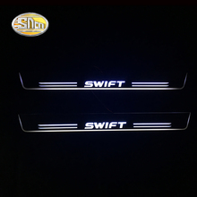 SNCN LED Door sill plate for Suzuki Swift moving light scuff pedal Outside door welcome lights