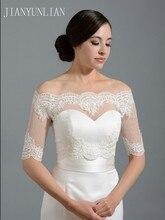 New Ivory Half Sleeve Wedding Jacket Lace Bridal Bolero Shrugs Wraps Capes Stock One Size 2020 Appliques Wedding Accessory