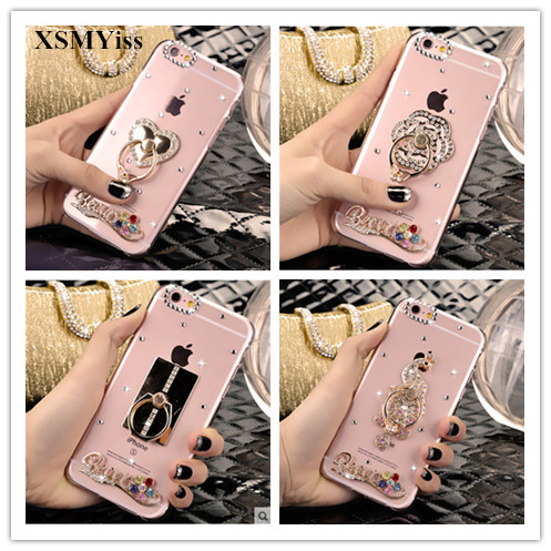 Smartphone case Fashion Bling Crystal Pearl Rhinestone Soft Clear Case Cover Transparent Soft shell For iPhone X 5C 6/7/8Plus