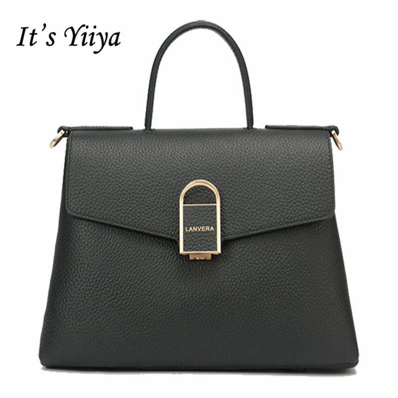 It's YiiYa Popular 4 Colors Women Genuine Leather HandBag Fashion Casual High Capacity Quality Girls Messenger Bags SS869 popular sale genuine leather female casual fashion quilted handbag