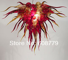 лучшая цена Free Shipping Hand Blown Glass Wrought Iron Chandelier In Red