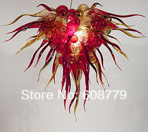 Free Shipping Hand Blown Glass Wrought Iron Chandelier In Red фото