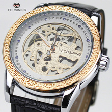 Relojes Para Hombre Top Brand Forsining Lujo real Caja Cristalina Del Diamante Correa de Cuero Masculino Relojes de pulsera Mecánico Automático Reloj
