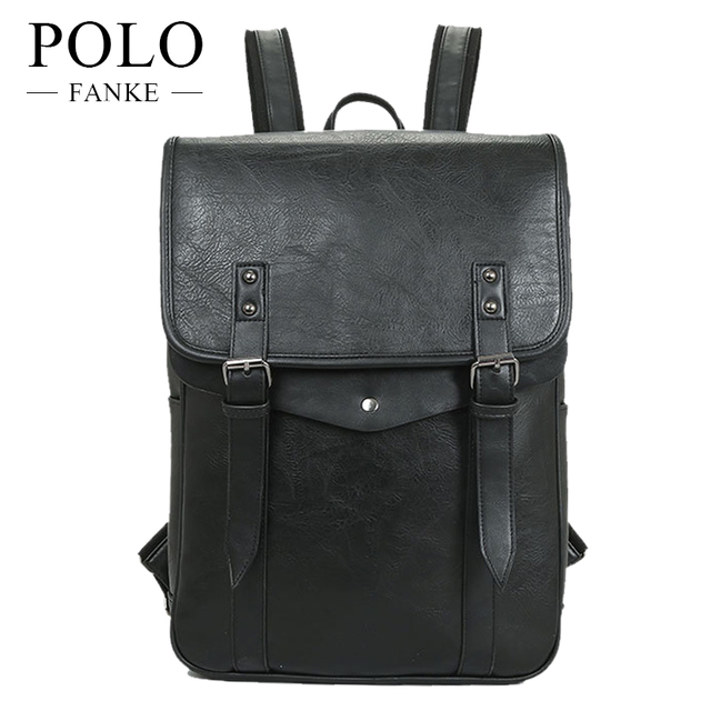f676db092f1e FANKE POLO Men Backpack For Teenagers Male PU Leather Bag School Satchel  Laptop Backpacks Casual Rucksack