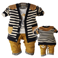 Anlencool 2017 Rushed Coat Roupas Meninos New Korean Baby Clothing Spring Three-piece Stripe Cardigan Brand Clothes Boy Set
