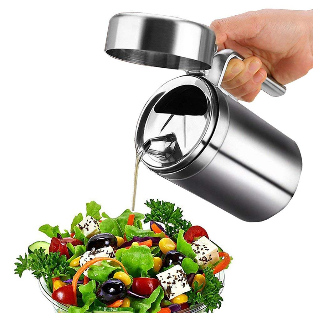 Stainless Steel Olive Oil Dispenser Can Leak Proof Storage with Lid Edible Salad Dressing for Kitchen Cooking/Restaurant/BBQ
