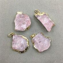 MY0407 Freeform Pink Crystal Quartz Pendant Charm,Rose Quartz Druzy Gold Color Cladding Necklace Pendant Jewelry Making n091808 18 29 7 strands pearl necklace quartz druzy pendant