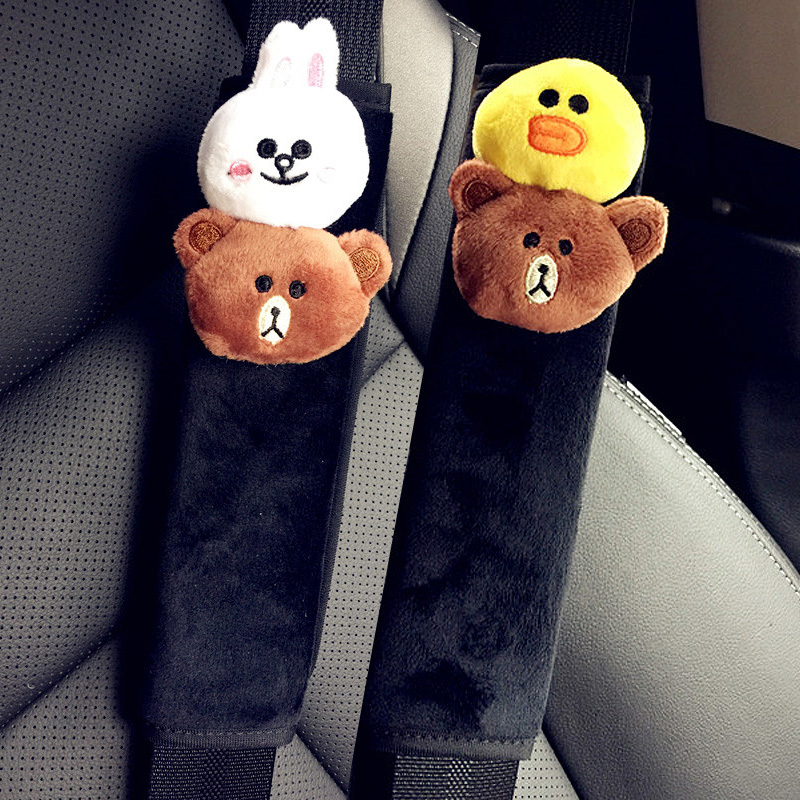 1 Pair Cute Cartoon Bear Car Seat Belt Cover Winter Plush Auto Seatbelt Shoulder Protection Padding For Girls Car styling