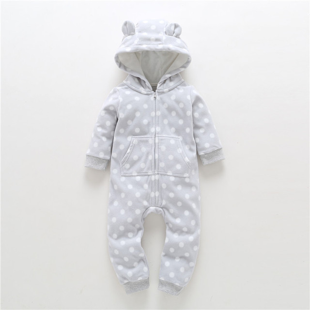 Cute Hooded Winter Rompers for Infants and Babies