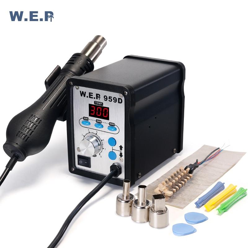WEP 959D 650W LED Digital Display SMD Rework Soldering Station 100~500 Celsius Hot Air Gun PCB Desoldering Station
