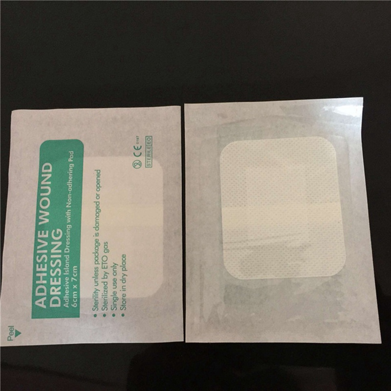 10Pcs/Lot Non-woven Medical Adhesive Wound Dressing Band Breathable Aid Bandage Wound First Aid 6*7cm