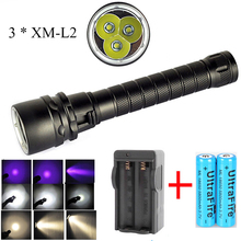 Led diving flashlight  UV / White / Yellow light 3 * cree XM-L2 6000 lumens LED flashlight torch With rechargeable battery