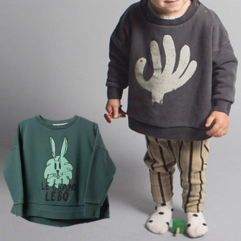 BBK Bobo Choses Kazak kızlar El Makyaj yeşil Tavşan Desen pamuk 100% Hoodies bebek boys giyim çocuk giysileri 80-120 cm