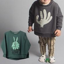 BBK Bobo Choses Sweatshirt girls Hand Makeup green Rabbit Pattern cotton 100% Hoodies baby boys outerwear kids clothes 80-120cm