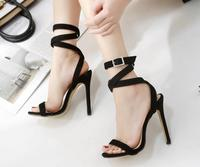 Spring and summer fine with a hundred catch a word clasp cross strap super high with sexy water drill sandals