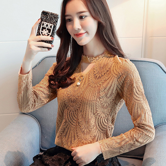 2017 Autumn Women Lace Blouse Long Sleeve Fashion Blouses and Shirts Crochet Blusas Casual Female Clothing Plus Size Femme Tops 2