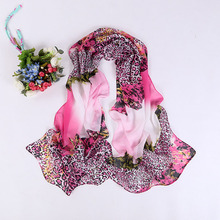 2016 Women Fashion Leopard Print Silk Chiffon Scarf Summer Scarves Hijab  Long Shawl Soft Material 50*160cm