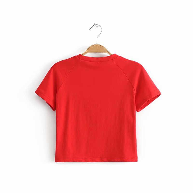 O-צוואר נשים מוצק קצר שרוול למעלה חולצה מול לב מודפס 4 צבעים נשים סיבתי יבול לב מודפס נשים למעלה טי