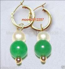 Brincos Ohrringe Phone 2pair wholesale Earrings AAA Jewelry Natural  Green Jade & White shell Pearl Earrings 18k Gold Plated недорого