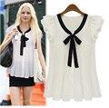 2015 Womens Blouses Short Sleeve Chiffon Shirt Summer Style Cardigan Kimonos Bow Ruffles Blouse Plus Size blusa feminina AE101