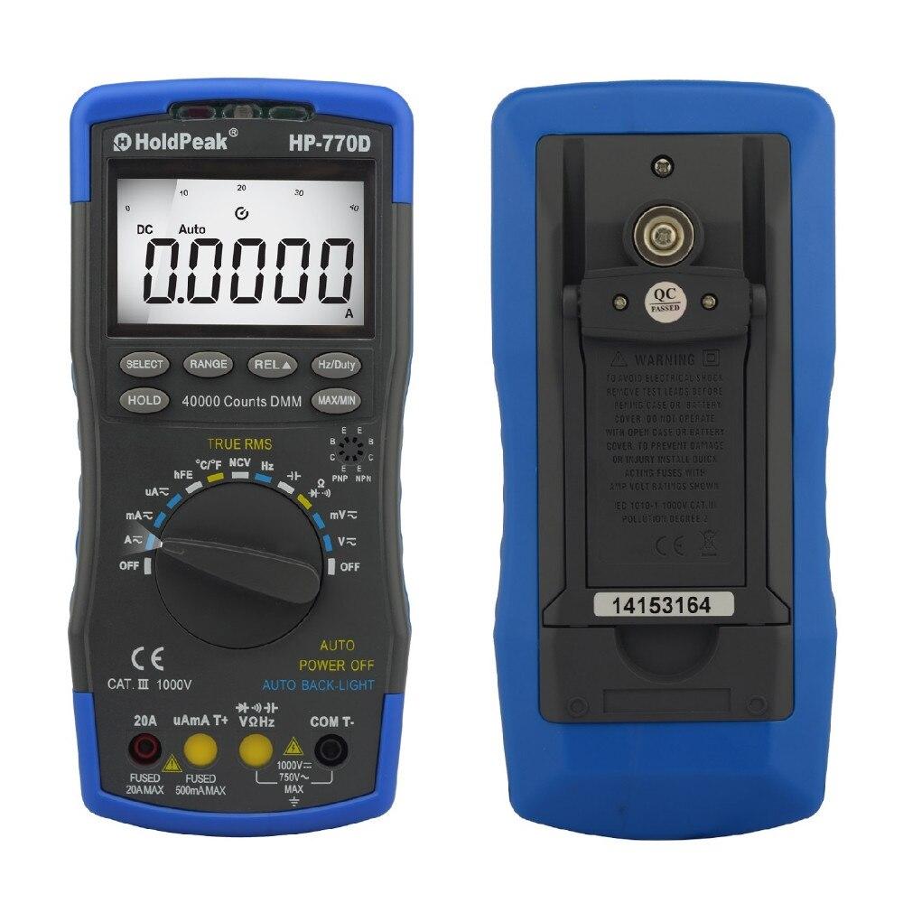 Multímetro Digital de HoldPeak HP 770D rango automático de alta precisión True RMS 40000 cuentas NCV corriente de voltaje CC ohmios probador - 2